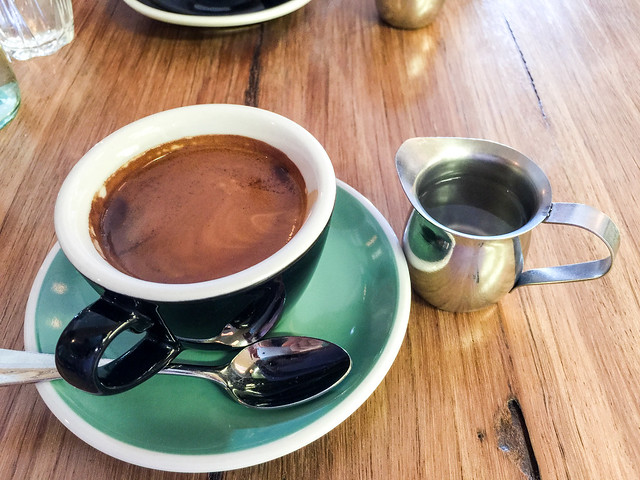 Long black coffee time at Hard Pressed in East Melbourne
