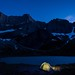 Twilight over our tent at Cracker Lake, Glacier National Park by Michael Speed