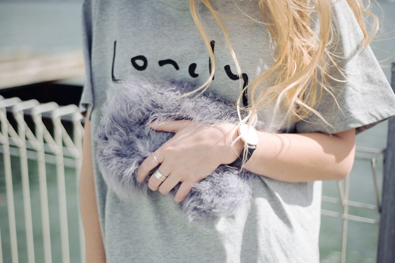 Lonely Hearts Tshirt, River Island Fluffy Bag, American Apparel Tennis Skirt, Miista Boots, Ray-ban Sunglasses | StolenInspiration.com | Kendra Alexandra | Fashion Blogger