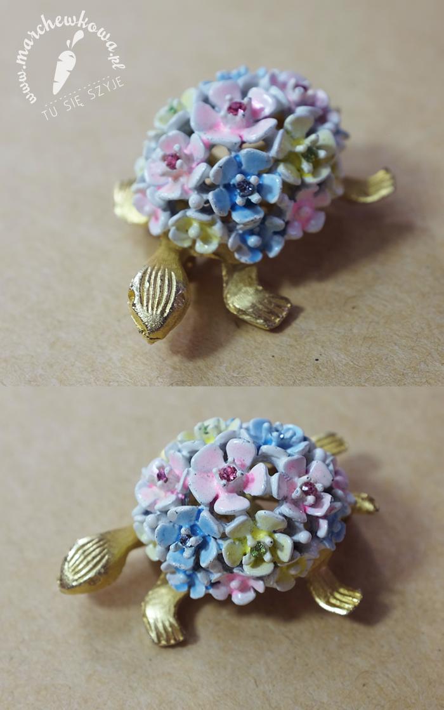 S.A. Samson Jewelry turtle brooch, moda na broszki