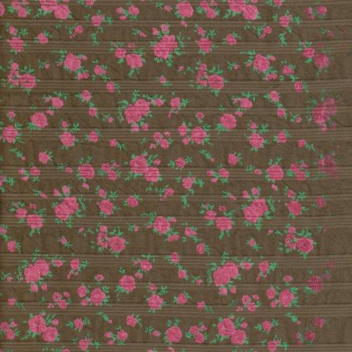咖啡底抓皺紅花 雅緻花卉 服裝布料  CH990111
