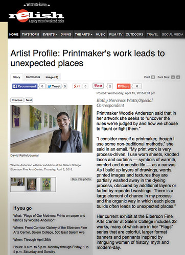 Screen capture of newspaper article - Artist Profile: Printmaker's work leads to unexpected places