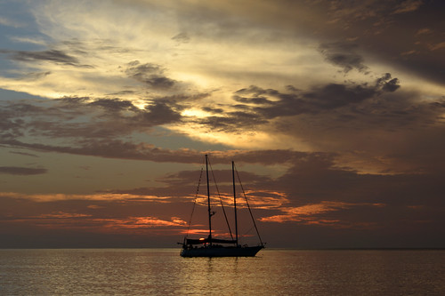 sea sky clouds sunrise coast yacht malaysia cherating cheratingbeach