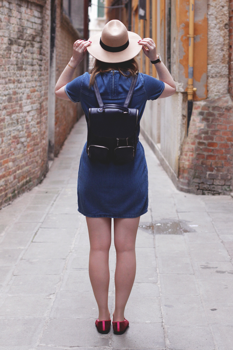Asos denim dress and Penelop Chilvers Slippers, Bumpkin Betty in Venice