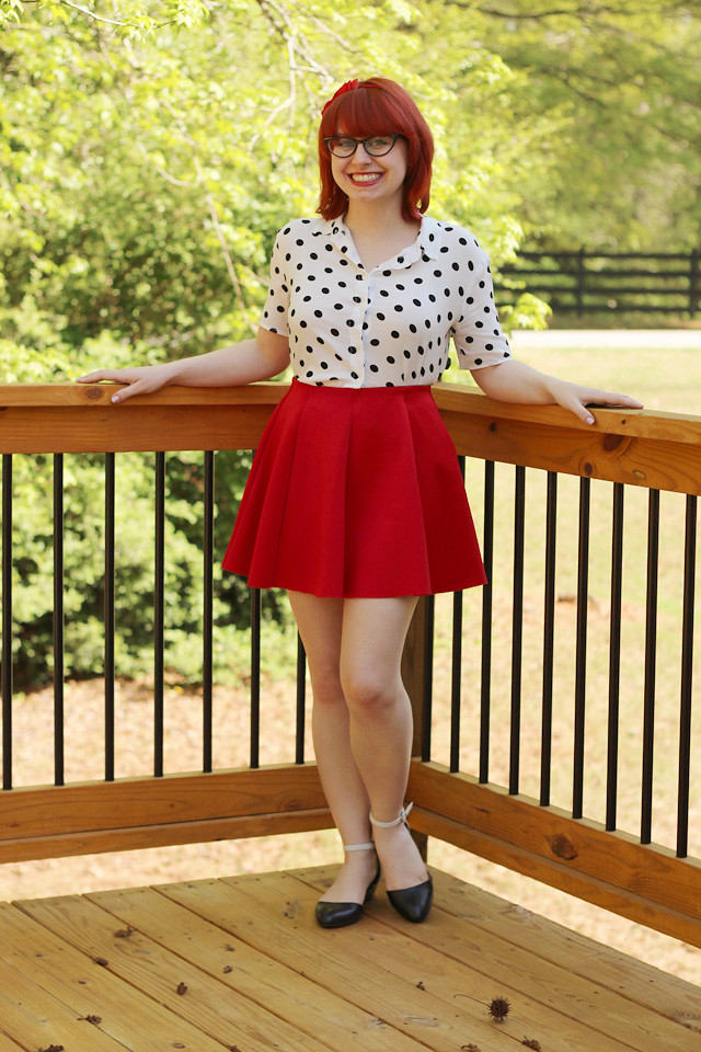 Polka Dot Button Down Shirt, Red Skater Skirt, and Cat Eye Glasses