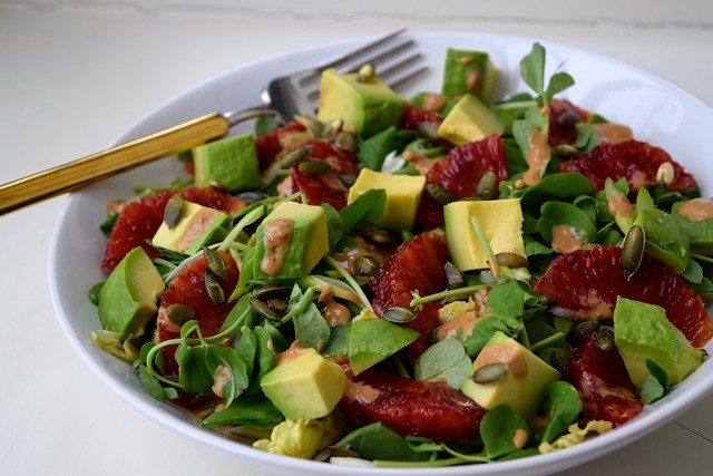 Avocado & Orange Salad with Miso Yogurt Dressing