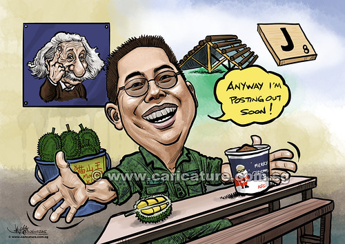 Lieutenant Colonel digital caricature for SAF (watermarked)