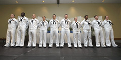 Finalists await the announcement at a ceremony March 27 during which Logistics Specialist 1st Class Blanca A. Sanchez, fourth from left, was named U.S. Pacific Fleet Sea Sailor of the Year, and Steel Worker 1st Class Brenton Heisserer, second from right, the Shore Sailor of the Year. (U.S. Navy/MC2  Johans Chavarro)