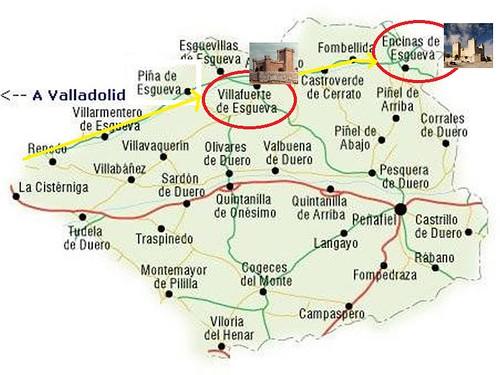 Mapa del Valle del Esgueva en Valladolid