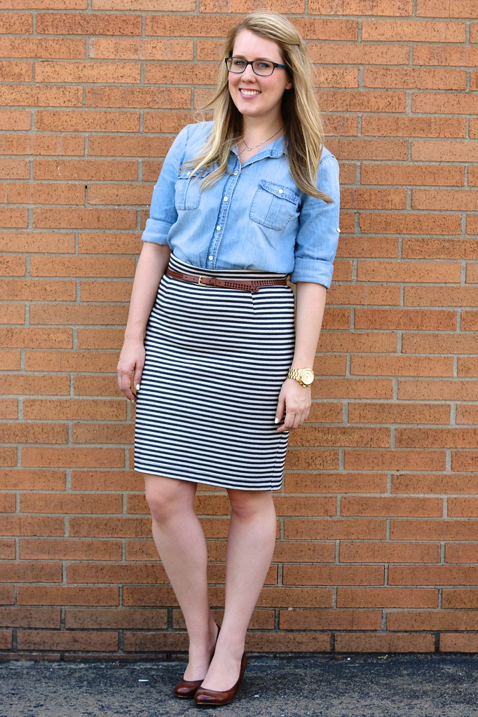 chambray shirt with striped skirt