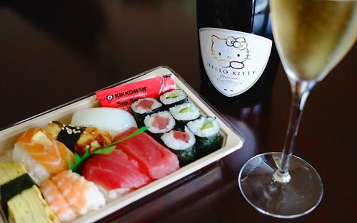 ~Kitty Kat bubbly & sushi