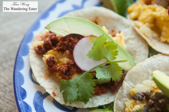 Chorizo with scrambled eggs breakfast taco by Gabriela's Taqueria