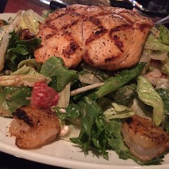 Just what the Doctor ordered! Shrimp and Strawberry salad with Salmon from Firebirds... #eatwell #dmv #delicious #quality #showtime #SaveThePandas #lovewhatyoueat #illest #igdaily #instagood #instafresh #firebirds #builditandtheywillcome #creativity #clas