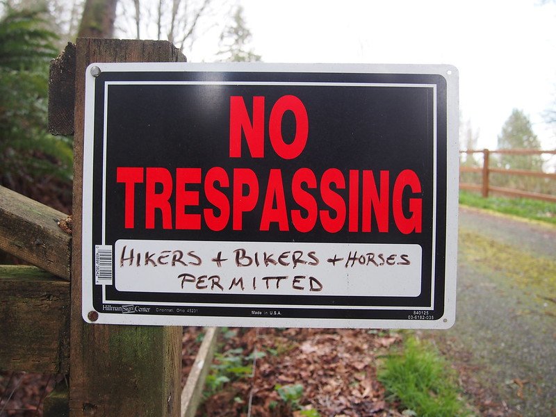 No Tresspassing: Hikers + Bikers + Horses Permitted