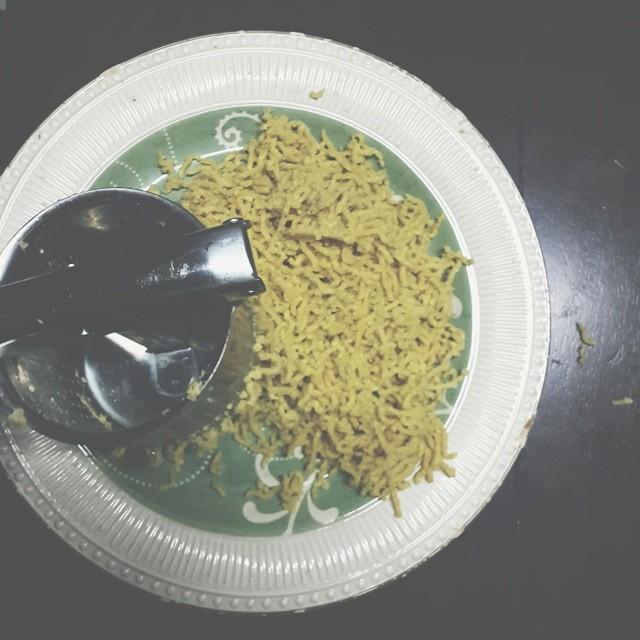 Unripe #Plantainnoodles. Passed through a ricer twice.  #plantains #newnigeriankitchen #Nigeriancuisine #Nigerianrecipes #kitchenbutterfly #instafood #instagood #foodagram #foodstagram #fresh #healthy #tropical #Nigerianfood #naijafood #vscocam #vscogram