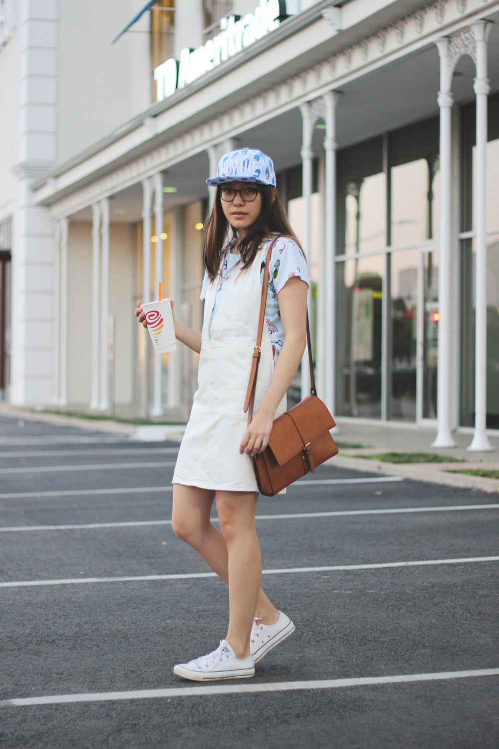 White overall skirt and white Converse