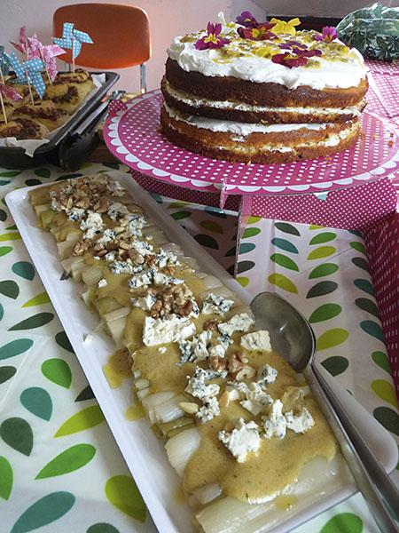 poireaux et gâteau