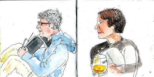 Pili y Nanda, sketchers gallegas ( 5º etapa  Puente la Reina/ Gares-Estella/Lizarra )