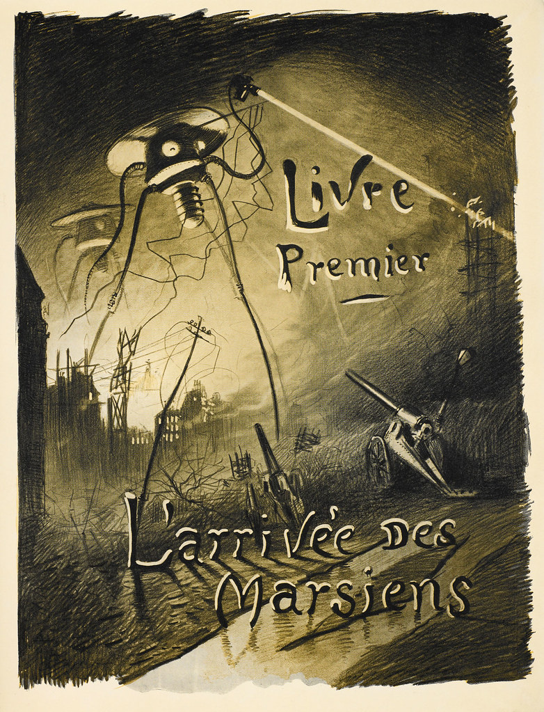 HENRIQUE ALVIM CORRÊA - L'arrivée des Martiens, from The War of the Worlds, Belgium edition, 1906 (illustration is featured as the title page of Book I - The Coming of the Martians) print version