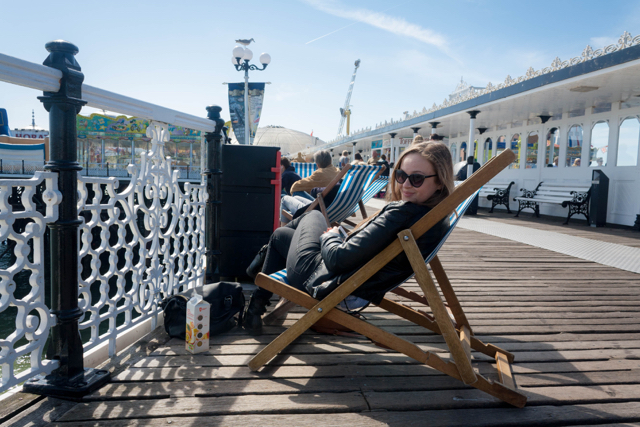 Deck chairs on the Brighton Pier.