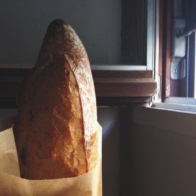 My first baguette in Paris, conveniently purchased from the boulangerie across the street from my airbnb.
