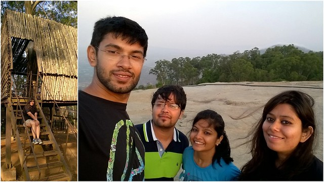 On left is a snap of one of the many bamboo-iron elevated huts they have in the park. That's a beautiful place in itself to picnic on a weekend. On right, a selfie - (L to R) - Prakhar, Rahul, Ankita, Akanksha
