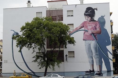Murales Artísticos de Estepona (Spain): Regando el Jardin (Watering the Garden) by Jose Fernandez Rios