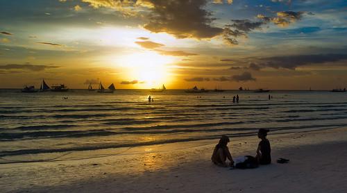 girls sunset sea summer orange sun beach water clouds dark sand philippines boracay pinoy