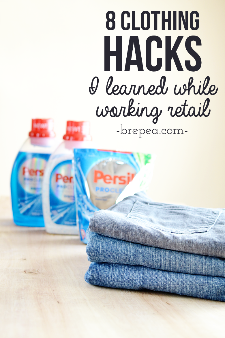 8 clothing hacks that I learned while working retail. I didn't believe that these clothing tricks and laundry hacks really worked until I tried them for myself, and they work wonders!