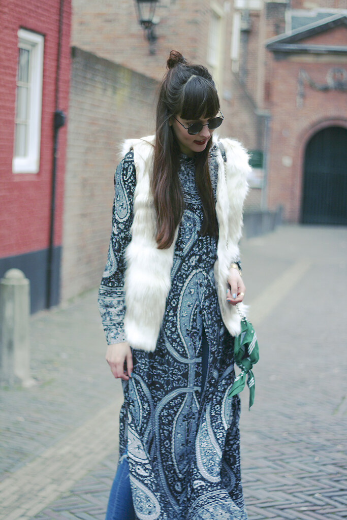 Paisley long shirt asos ripped jeans rounded zerouv sunglasses missguided high heels