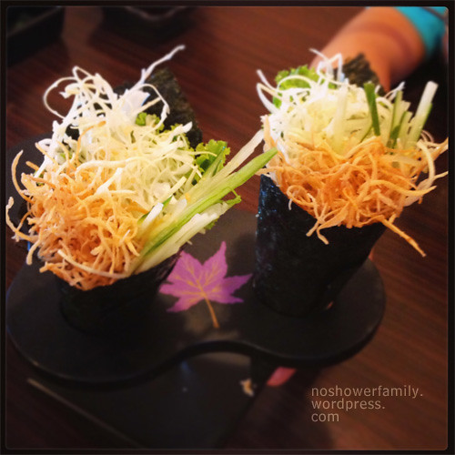 Fried Burdock Root (Gobo) Hand Roll