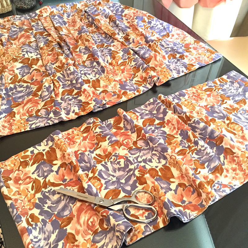 Blue & Tan Floral Dress - In Progress