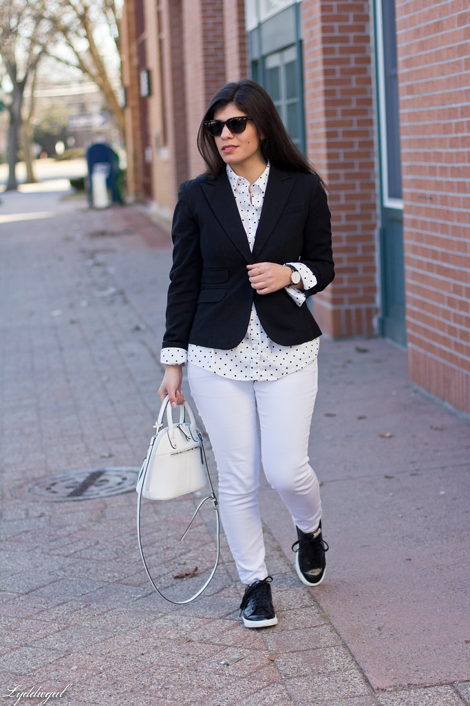 black blazer, polka dot shirt, white denim, trainers-1.jpg