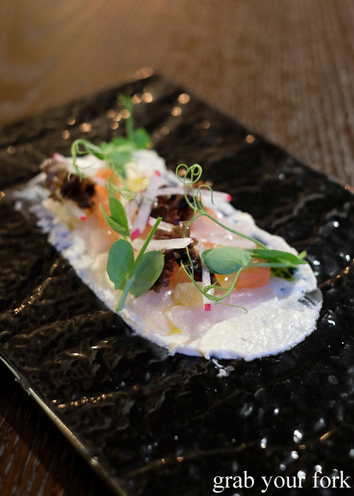 Tarakihi crudo at WBC Wholesale Boot Company, Wellington