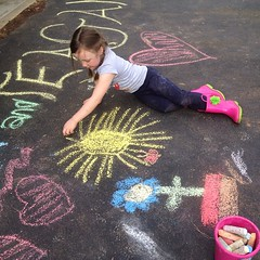 Chalk time. #outside #rainboots #sidewalkchalk #chalk #art