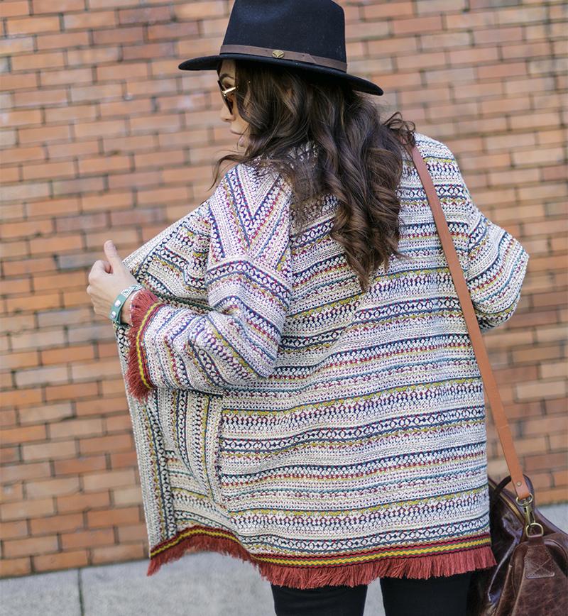 street style barbara crespo hakei ethnic jacket fringes sendra fashion blogger outfit blog de moda