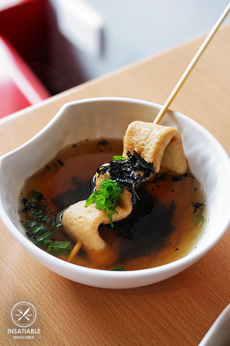 Odeng (skewered fish cake soup), $3