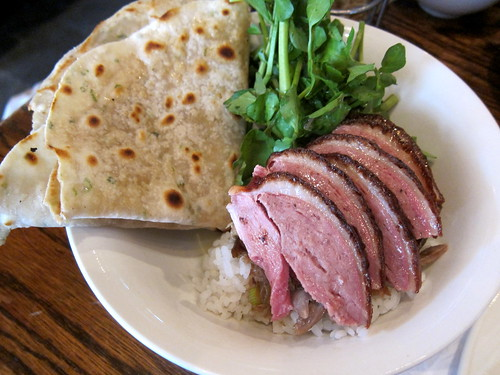 Rotisserie Duck over Rice with Chive Pancake