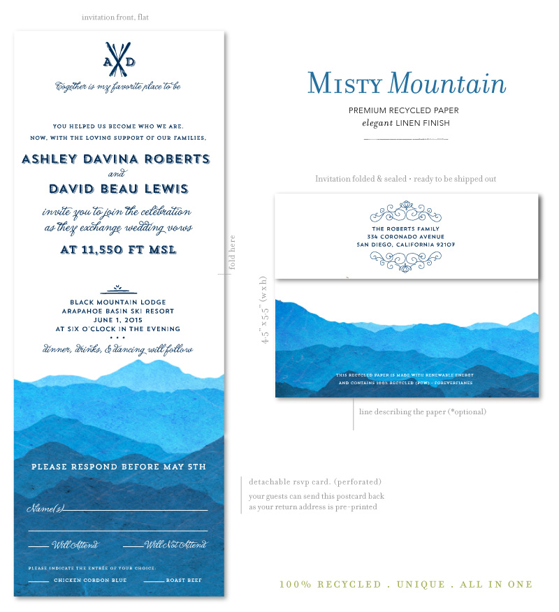 Colorado Wedding Invitations on 100% recycled paper ...