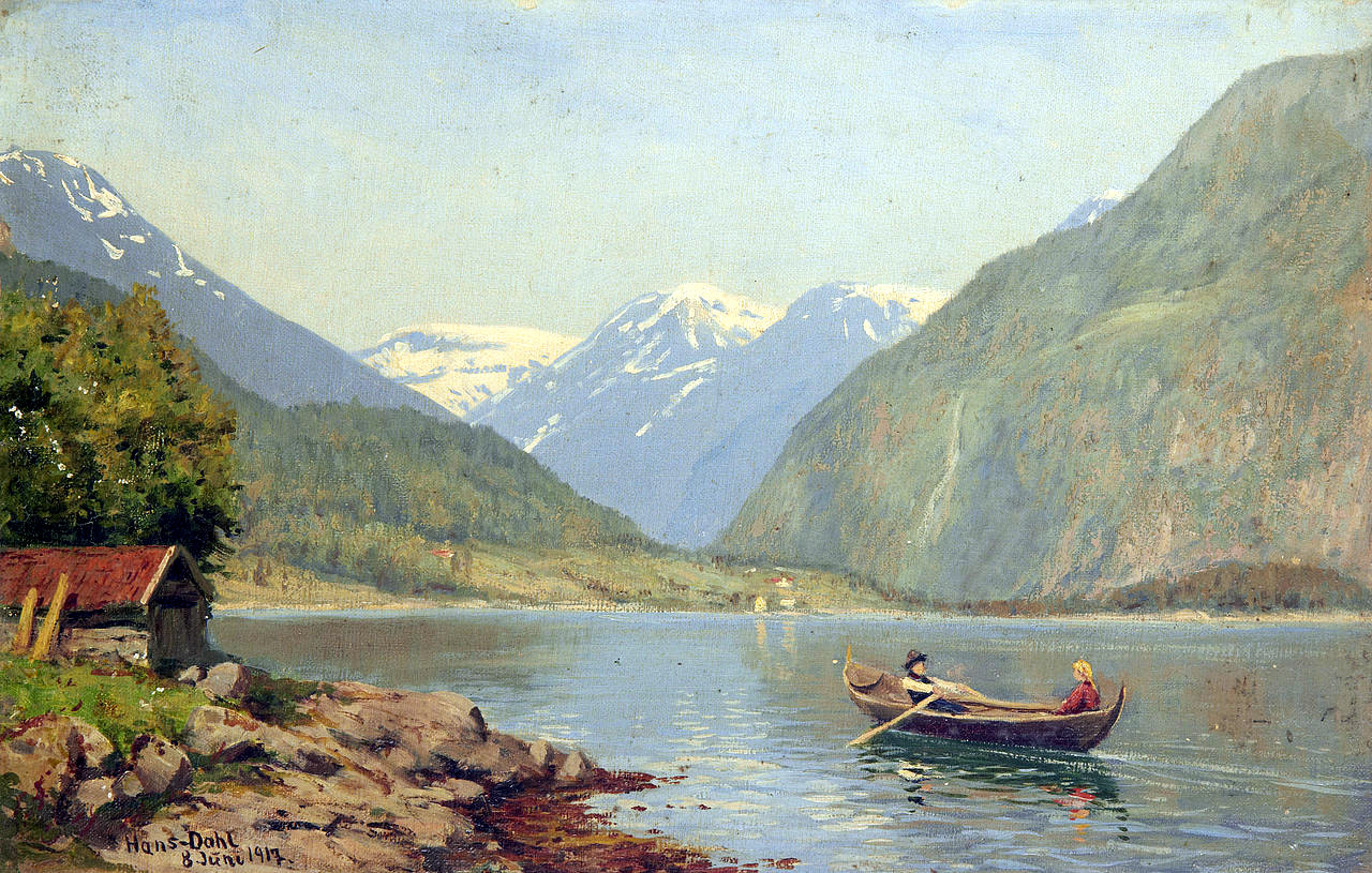Figures in a Rowing Boat on a Fjord by Hans Dahl, 1917