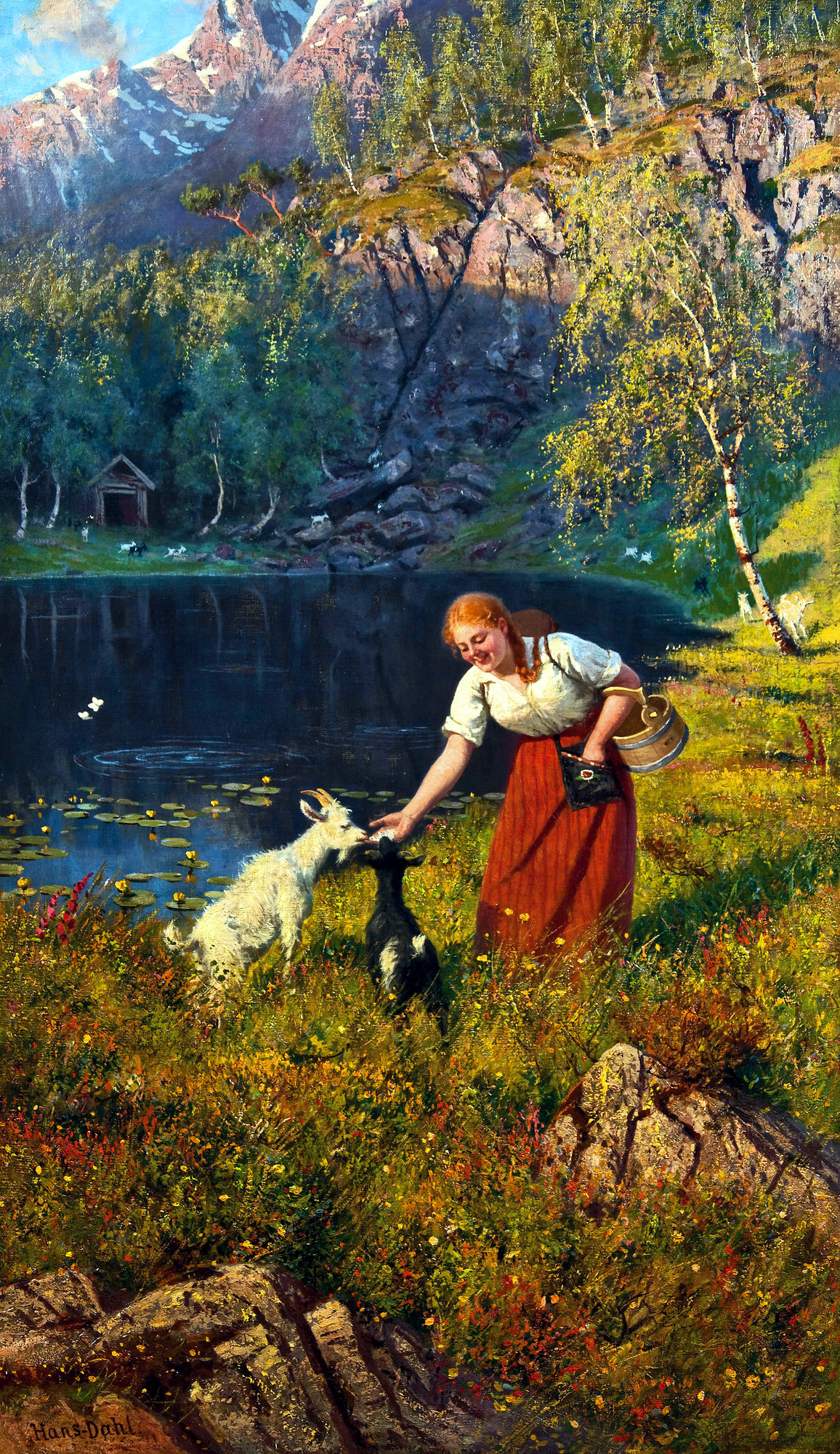 Milkmaid with goats by Hans Dahl