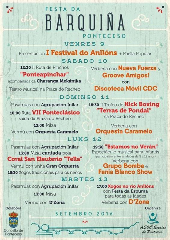 Ponteceso 2016 - Festas da Barquiña - cartel