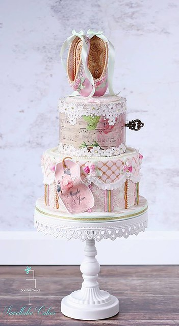 Vintage Shabby Chic Ballet Cake by Sweetlake Cakes