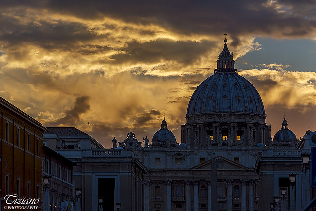 sunset behind the dome