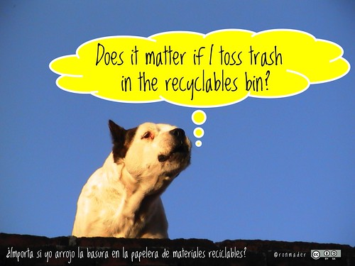 Does it matter if I toss trash in the recyclables bin? = ¿Importa si yo arrojo la basura en la papelera de materiales reciclables? #roofdog