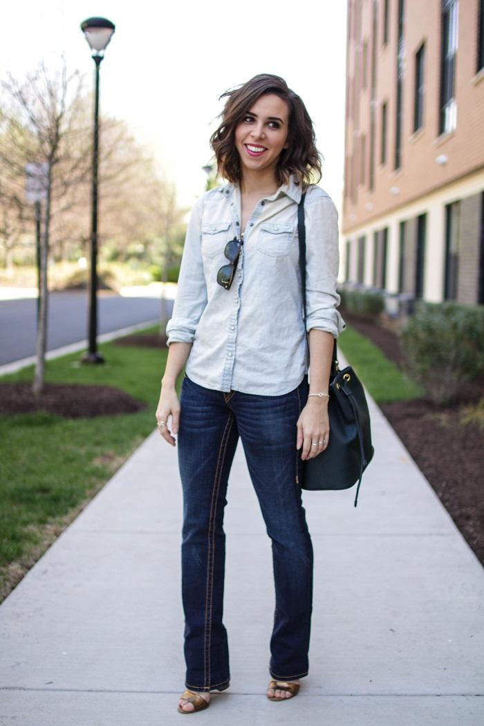 aviza style. a viza style. andrea viza. fashion blogger. dc blogger. spring style. outfit. denim on denim. chambray. bootleg jeans style. bucket bag. 3