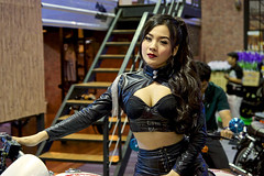 Sexy leather-clad motorbike presenter at the 36th Bangkok International Motor Show