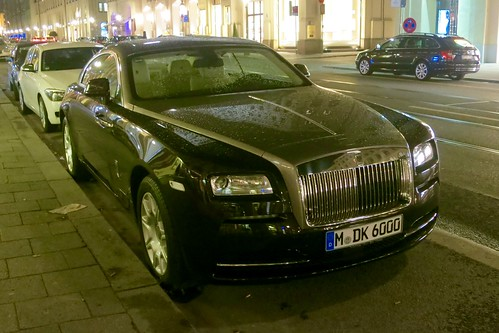Munich after sunset: the close-up of the Rolls Royce Wraith...