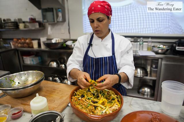 Chef Einat Admony preparing the chicken tagine