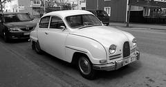 automobile, vehicle, automotive design, mid-size car, compact car, antique car, sedan, classic car, vintage car, saab 96, land vehicle, motor vehicle, classic,